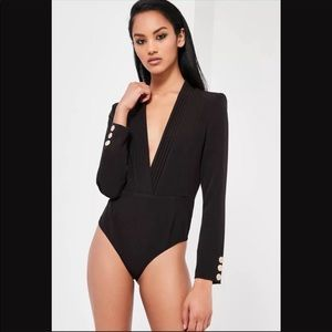 Missguided Peace + Love long sleeve black bodysuit